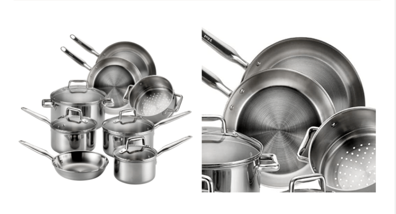 T-Fal (12-Piece) Stainless Multi-Clad Oven Safe best Cookware