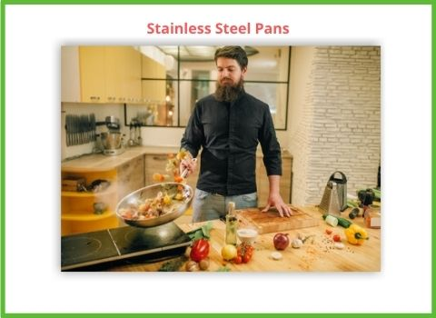 Stainless Steel Pan at high heat