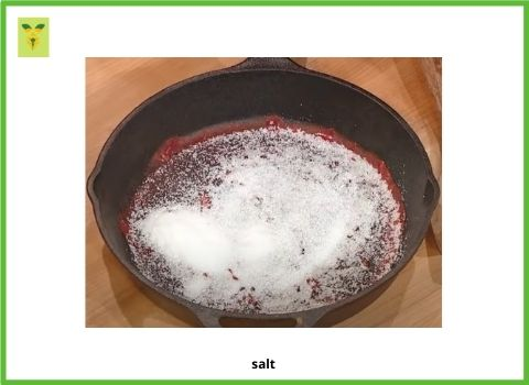 Salt In the cast iron Pan