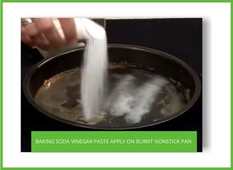 Sprinkle Baking Soda and vinegar on pan